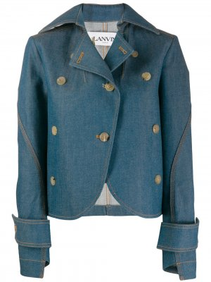 Джинсовая куртка асимметричного кроя LANVIN. Цвет: синий
