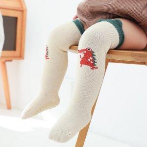 Детские носки с рисунком динозавра SHEIN. Цвет: бежевые