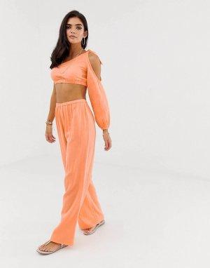 Широкие фактурные пляжные брюки от комплекта -Оранжевый ASOS DESIGN