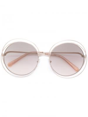 Объемные солнцезащитные очки Carlina Chloé Eyewear. Цвет: металлический