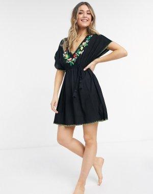 Черное пляжное платье-туника с вышивкой Seville-Черный цвет Figleaves