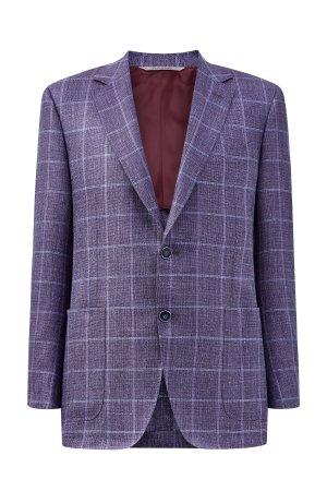 Блейзер из шерсти и льна с накладными карманами в стиле casual CANALI. Цвет: фиолетовый