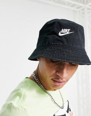 Черная панама из выбеленного хлопка с логотипом Futura-Черный цвет Nike