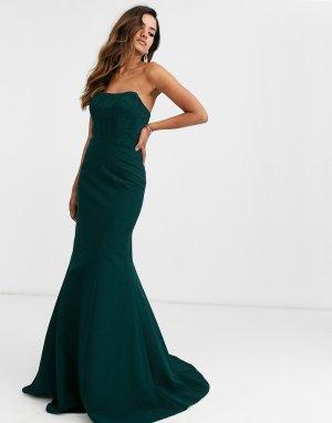 Платье-бандо -Синий Jovani