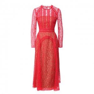 Платье-миди self-portrait. Цвет: красный