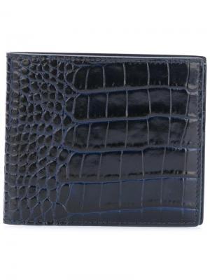Бумажник с эффектом крокодиловой кожи Smythson. Цвет: синий