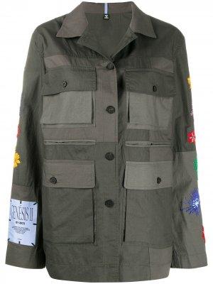Куртка-рубашка с цветочной вышивкой McQ Swallow. Цвет: зеленый