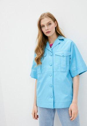 Куртка кожаная Topshop Boutique. Цвет: голубой
