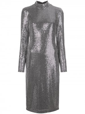 Платье миди с эффектом металлик Badgley Mischka. Цвет: серебристый