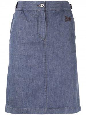 Юбка прямого кроя с вышитым логотипом Céline Pre-Owned. Цвет: синий