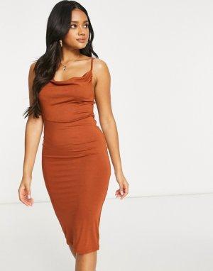 Платье миди на бретельках с драпировкой лифе в рыжем цвете -Оранжевый ASOS DESIGN