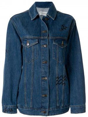 Джинсовая куртка с анималистичным принтом Être Cécile. Цвет: синий