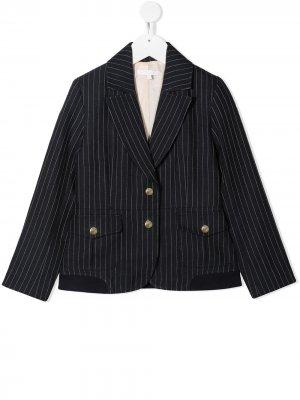 Однобортный пиджак в тонкую полоску Chloé Kids. Цвет: синий
