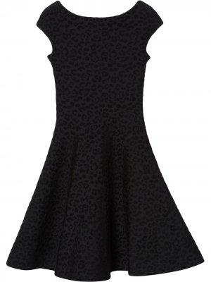 Расклешенное платье с леопардовым принтом Carolina Herrera. Цвет: черный