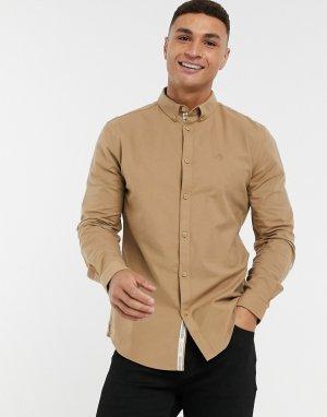 Светло-коричневая оксфордская рубашка с длинными рукавами -Коричневый River Island