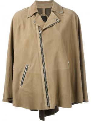 Кожаная куртка-кейп Rta. Цвет: коричневый