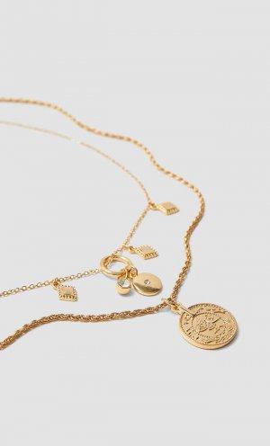 Набор Из 5 Ожерелий Женская Коллекция Желтый 103 Stradivarius. Цвет: желтый