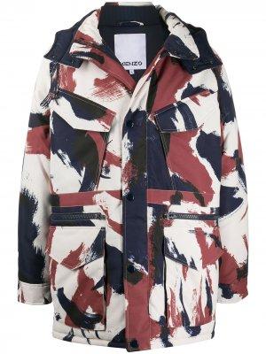 Куртка с капюшоном и абстрактным узором Kenzo. Цвет: белый