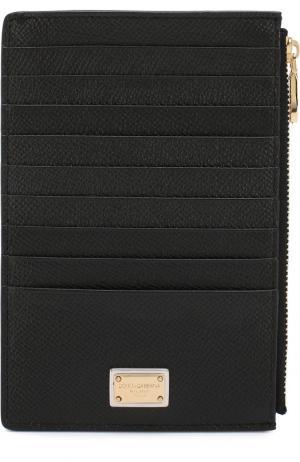 Кожаный футляр для кредитных карт с отделением на молнии Dolce & Gabbana. Цвет: чёрный