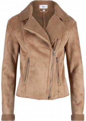 Куртка Maite Kelly из искусственного меха bonprix. Цвет: корич-невый