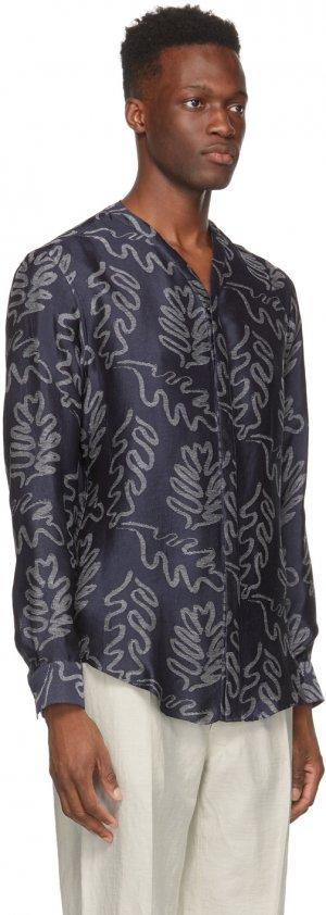 Navy & Off-White Silk Jacquard Shirt Giorgio Armani. Цвет: fbwf print