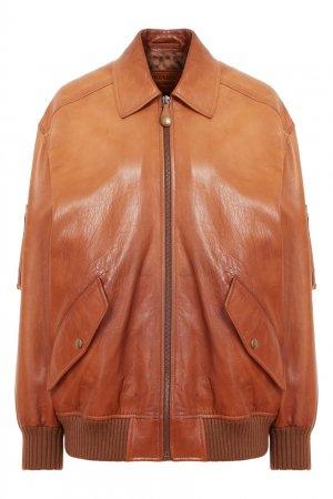 Коричневый кожаный бомбер Prada. Цвет: коричневый