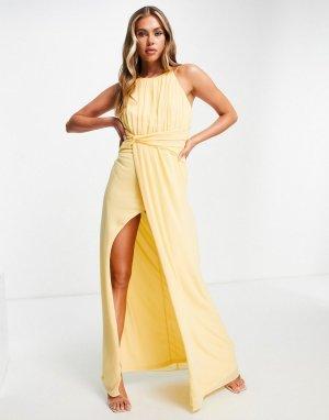 Шифоновое платье макси лимонного цвета с запахом на юбке -Желтый TFNC