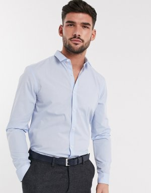 Голубая поплиновая рубашка с длинными рукавами -Голубой New Look
