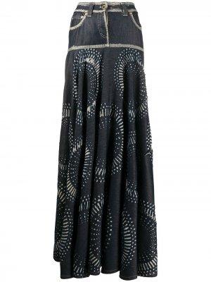 Джинсовая юбка с абстрактным принтом Gianfranco Ferré Pre-Owned. Цвет: синий
