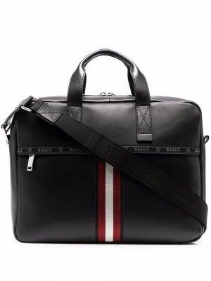 Hektor logo-tape leather briefcase Bally. Цвет: черный