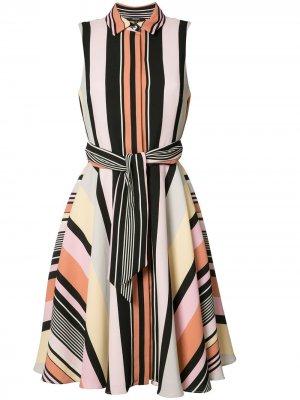 Платье шифт в полоску Badgley Mischka. Цвет: разноцветный