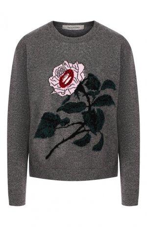 Пуловер из смеси шерсти и кашемира Valentino. Цвет: серый