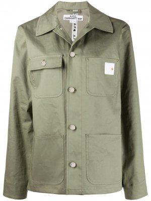 Куртка-рубашка оверсайз A.P.C.. Цвет: зеленый