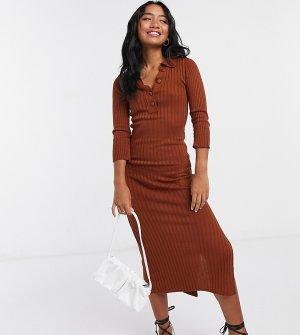 Коричневое вязаное платье с воротником ASOS DESIGN Petite-Коричневый Petite