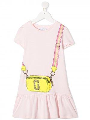 Платье с короткими рукавами и графичным принтом The Marc Jacobs Kids. Цвет: розовый