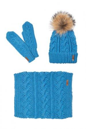 Комплект: шапка, снуд, варежки Sava Mari. Цвет: синий