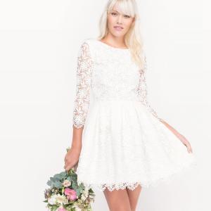 Платье свадебное короткое, из кружева LA REDOUTE COLLECTIONS. Цвет: слоновая кость