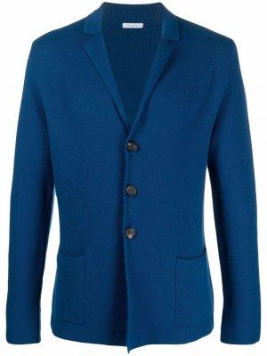 Трикотажный пиджак на пуговицах Malo. Цвет: синий