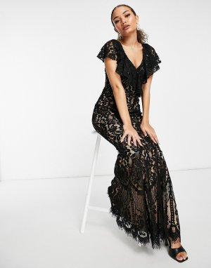 Черное кружевное платье макси с юбкой-годе -Черный Goddiva
