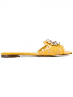 Сандалии на плоской подошве Bianca Dolce & Gabbana. Цвет: желтый