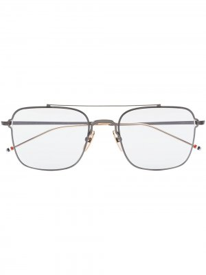 Солнцезащитные очки в квадратной оправе с полосками RWB Thom Browne Eyewear. Цвет: серый