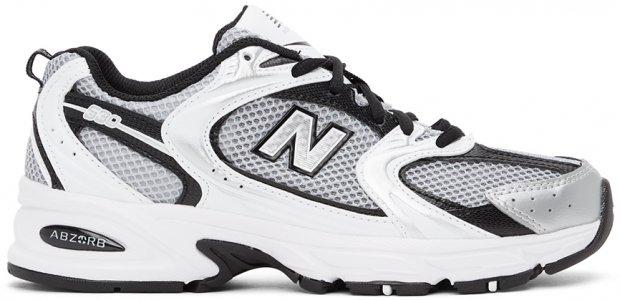 New Balance White & Black 530 Sneakers