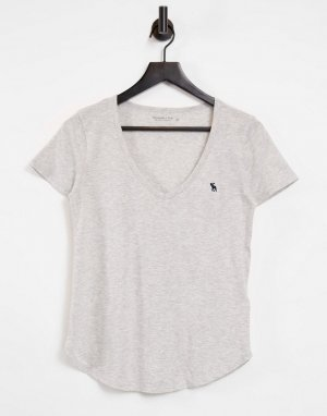 Серая футболка с короткими рукавами и V-образным вырезом -Серый Abercrombie & Fitch