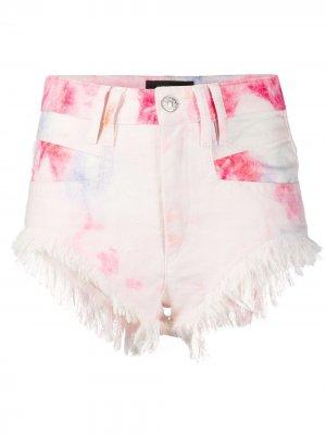 Джинсовые шорты с принтом и бахромой Isabel Marant. Цвет: розовый