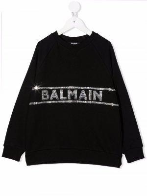 Толстовка с круглым вырезом и логотипом Balmain Kids. Цвет: черный