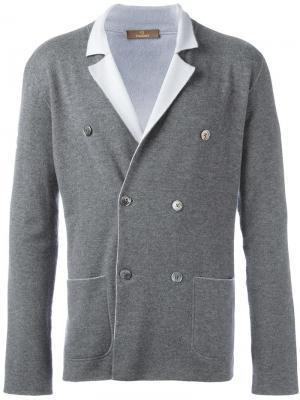 Двубортный вязаный пиджак Cruciani. Цвет: серый
