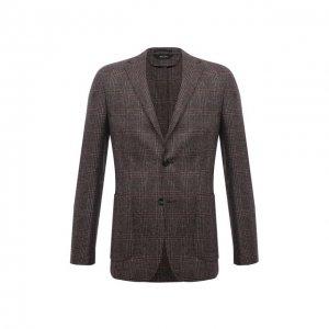 Шерстяной пиджак Z Zegna. Цвет: коричневый