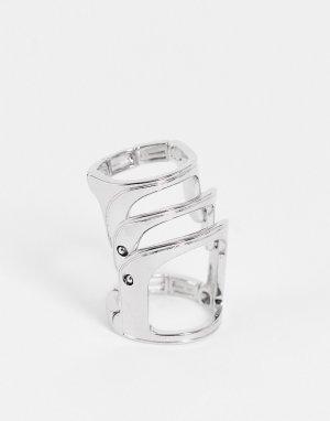 Подвижное серебристое кольцо для Хэллоуина в виде скелета Halloween-Серебряный ASOS DESIGN