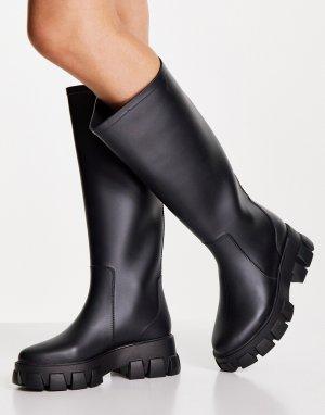 Черные резиновые сапоги до колен на толстой подошве Gracie-Черный цвет ASOS DESIGN