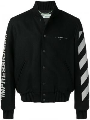 Университетская куртка с диагональными полосками Off-White. Цвет: черный